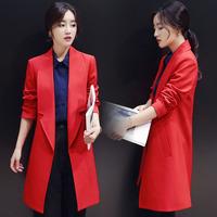2016秋季新款小西装女长袖中长款大红色百搭西服秋季时尚薄外套潮