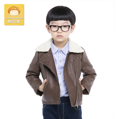 Pumpkin spaceship boys jackets leather jacket 2014 autumn and winter thickening big virgin lamb fur collar