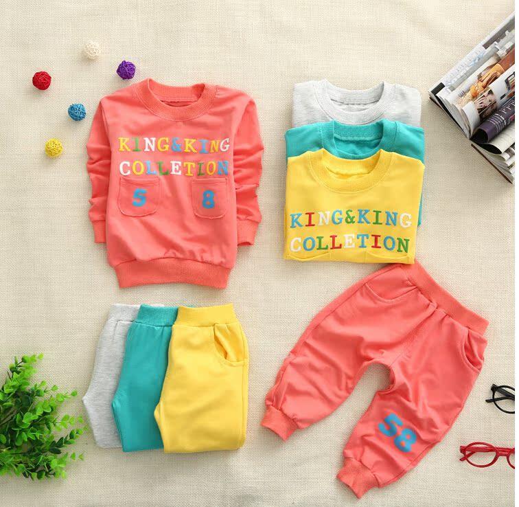 早秋新款套装男童女童秋装 2014儿童幼童中小童1-4岁套装二件套