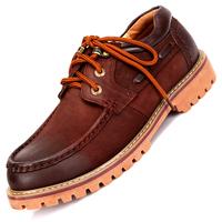 男士户外休闲鞋低帮真皮鞋系带圆头霸气厚底工装鞋男鞋秋季潮鞋子