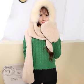 韩国秋冬天保暖女围脖毛绒可爱双层潮加厚毛线围巾连帽子手套一体