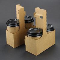一次性手提杯托两杯装外卖杯架咖啡奶茶纸杯打包外带牛皮纸托盘
