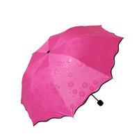 韩国创意太阳伞防紫外线黑胶遇水开花遮阳伞超强防晒伞折叠晴雨伞