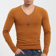 紧身T恤男款长袖V领潮型健身打底衫超爽滑大弹力莱卡棉