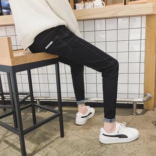 黑色牛仔裤男九分弹力小脚潮流学生冬季百搭加绒加厚裤子