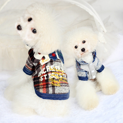 2014 new fall and winter clothes dog clothes Ps 9 jeans Teddy Bear pet clothes dog clothes