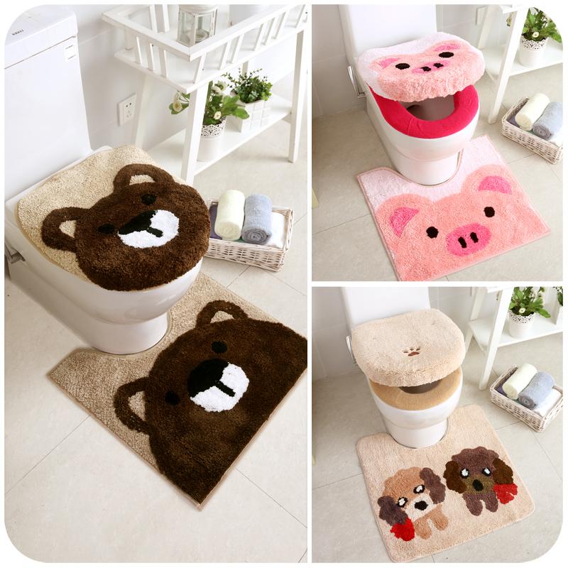 马桶垫三件套毛绒坐垫卫生间通用可爱韩版水洗卡通抗菌加厚坐便套