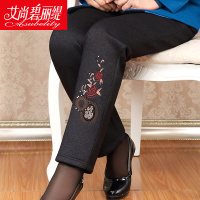 中老年女裤加绒加厚妈妈装棉裤宽松大码冬季老年人长裤保暖休闲裤