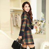 时尚格子毛呢外套女中长款韩版修身型羊毛呢子大衣加厚2015新