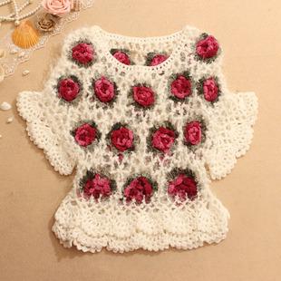 春夏镂空女针织衫罩衫高腰短款外套马海毛立体花朵套头毛衣蝙蝠衫