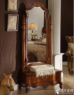美式方形带抽屉穿衣镜 实木全身镜落地镜 高档白色试衣镜 可定做