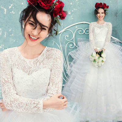 Luoai Wei wedding dress 2014 new winter models long-sleeved winter word shoulder wedding dress for pregnant women 2014 new big yards