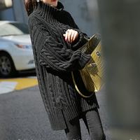 2015秋冬装大码麻花中长款高领蝙蝠袖毛衣女套头宽松加厚外套