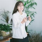 安小落 文艺学院风纯色蝴蝶结围巾领衬衫 百搭简洁气质女长袖上衣