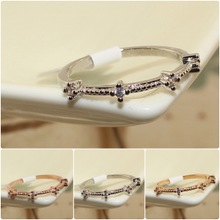 Han edition 18 k rose gold diamond zircon simulation no fading character joints to get married Lady's clovers thin ring