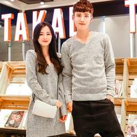 新款2015年韩版毛衣灰色情侣装女连衣裙