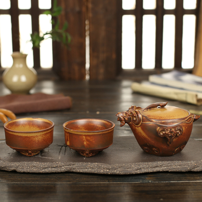 Park home A pot of two cups of Coarse pottery three Yang kaitai kung fu tea set special package mail tea ceramic tea set