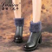 安丽尼卡新款真皮兔毛雪地靴女短筒绒里加厚粗跟靴子粗跟复古短靴