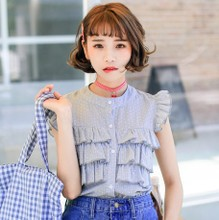The new summer 2015 han edition of sweet wave printing layer upon layer cake agaric little fresh shirt sleeve blouse joker