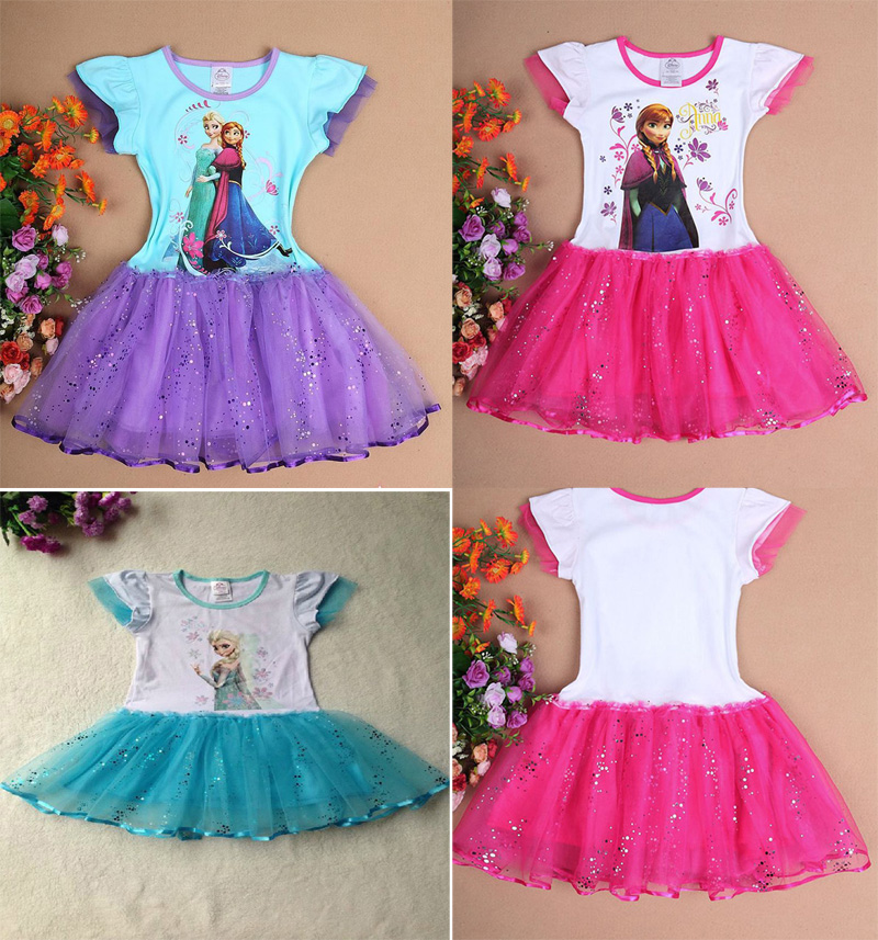 Hot kids' girls frozen summe rPrincess dress 冰雪奇缘连衣裙