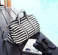 2015秋冬新款韩版潮流女士条纹单肩包手提包旅行包