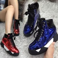 2015新款亮漆皮平底34as h内增高坡跟女鞋松糕厚底系带休闲运动鞋