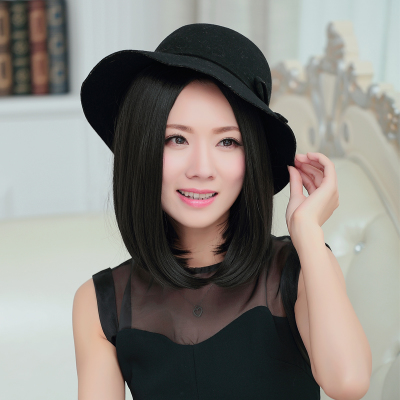 Carve short hair wig pear head short hair female fashion handsome BOBO head straight short hair carve new fake hair