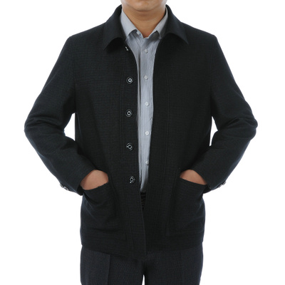 Wall Mu middle-aged men jacket coat thicker middle-aged men's autumn and winter jacket fitted Dad