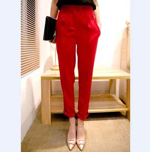 雪纺哈伦裤女春夏薄款韩高腰宽松显瘦长裤大红小脚九分西装裤