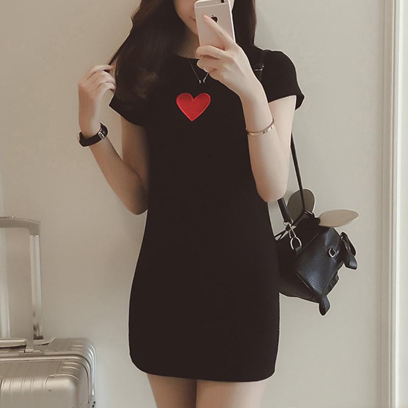 夏季女装新款韩版短袖修身时尚印花中长款百搭圆领T恤女连衣裙女