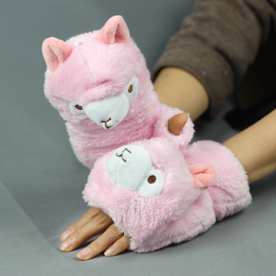 Winter gloves cute female alpaca mud horse half-finger flip plush thick warm Korean version of the cartoon ladies gloves