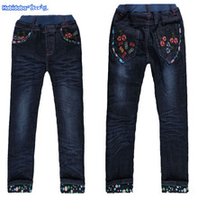 Hubby bus embroidered jeans and children's wear winter with thickening children velvet girls pants pants big child 2015