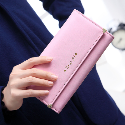 2014 Korean version of the new Sony Ericsson triple Fashionable ladies love minimalist small fresh rivet long wallet