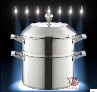 304 stainless steel double bottom steamer thick multi-story double boiler steamer cooker steamer 24-28cm
