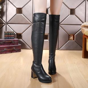 秋冬季流苏圆头高跟及过膝长靴 韩版粗跟瘦腿弹力长筒女骑士靴子