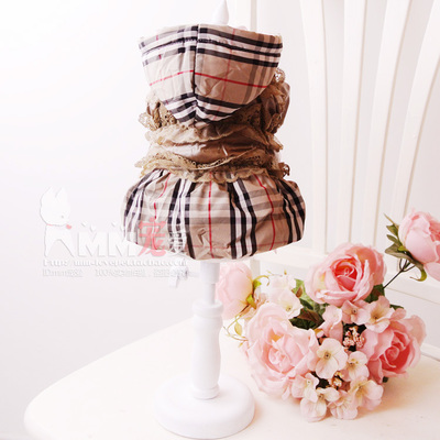 2 shipping small dog clothes pet clothing Teddy fall and winter days thick duvet coat dress B home grid sub
