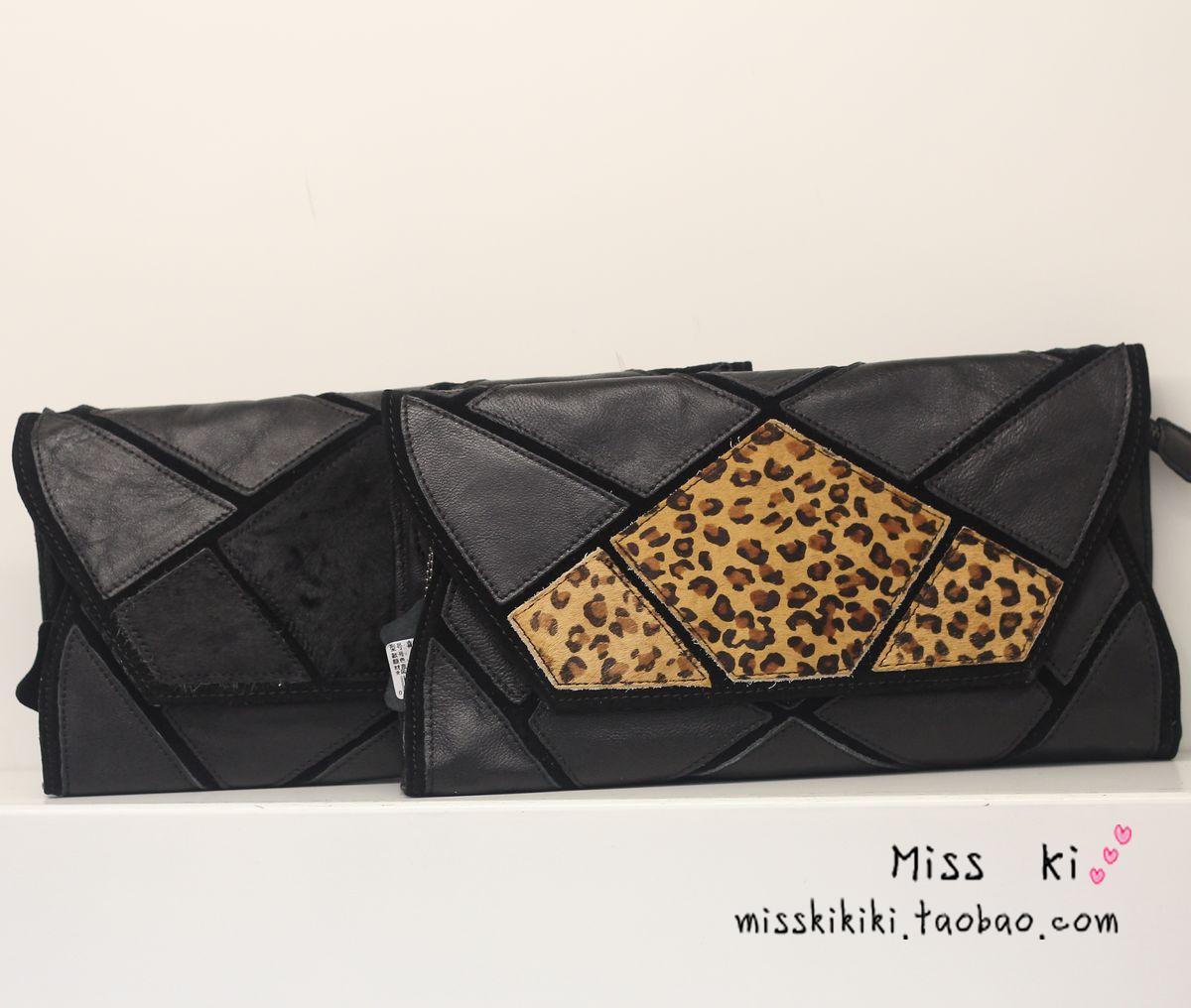 欧美色囹�kk.kI~ZKG_miss ki欧洲站 复古信封手拿包 真皮豹纹马毛几何图拼接羊皮斜跨