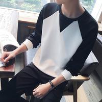 2016秋季新款男士圆领拼接撞色长袖T恤卫衣韩版长裤大码运动套装