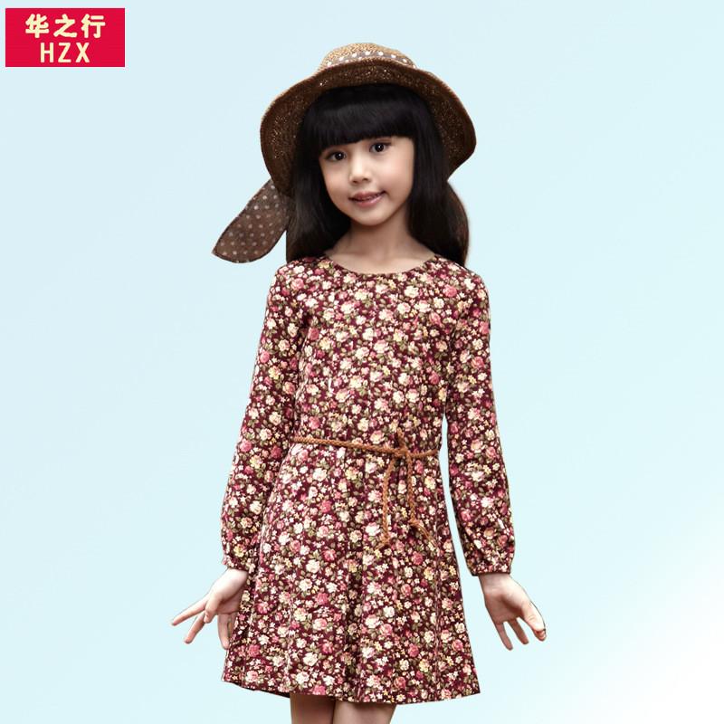 华之行2014秋季女童新款小碎花绒棉长袖儿童淑女童装连衣裙长裙子