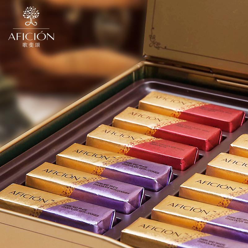 歌斐颂 铁艺纯可可脂巧克力礼盒装180g 圣诞节巧克力生日礼物顺丰