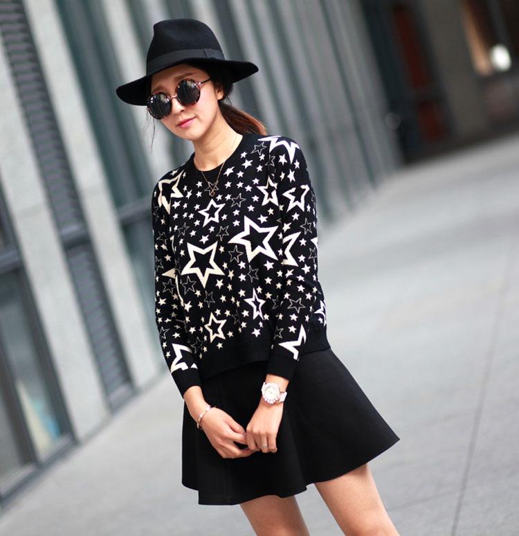 Сяо Хуэй сделал 14 новых корейской версии осенние и зимние короткие свободные пуловеры кофты пятиконечная звезда логотип дамы