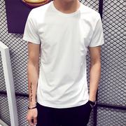夏季男士短袖T恤圆领纯色体恤打底衫半袖上衣夏装男装黑白潮