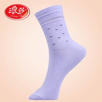 Six pairs of Ms. Lang Sha sock socks comfortable, breathable moisture absorption fine jacquard socks