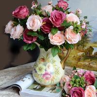 高级仿真花玫瑰花 假花绢花摆放装饰婚庆客厅摆设花 花卉婚礼节日