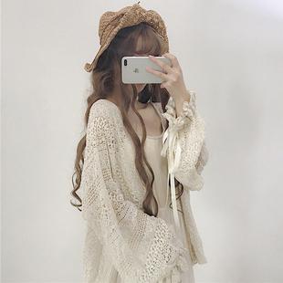 春装2019可爱少女蕾丝宽松灯笼袖长袖中长款防晒开衫外套