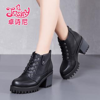 卓诗尼2016新款冬季女鞋粗跟靴子女学生加绒马丁靴英伦风高跟短靴