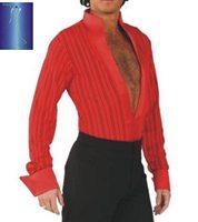 异国舞蹈国标舞交谊舞 拉丁舞 男士大V领镂空条纹连裤上衣ML0802
