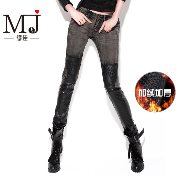 Miao Jia European leg jeans female leopard head stitching leather pants feet plus thick velvet ash black pencil pants winter
