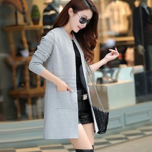 2017春装新款韩版宽松中长款圆领长袖显瘦针织衫女开衫毛衣外套潮