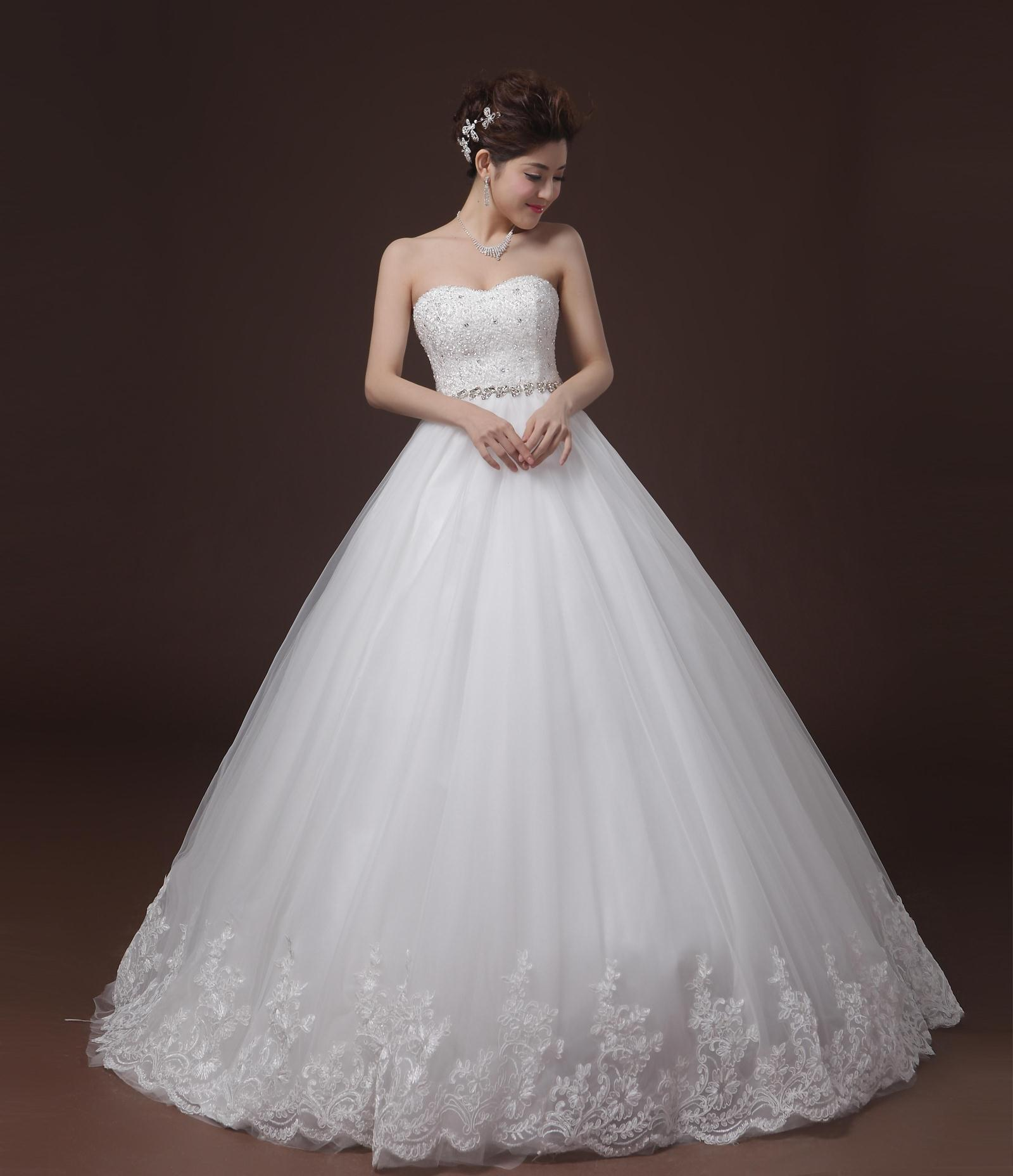 2015 new fashion wedding dress Korean Bra Princess Bride Qi word shoulder tutu diamond wedding